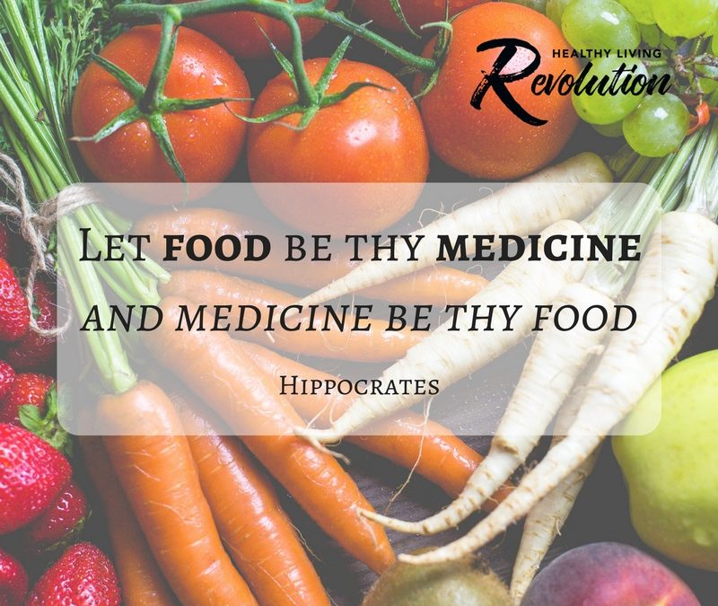 Hippocrates quote with photo of vegetables